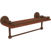 Prestige Skyline Collection 16 Inch IPE Ironwood Shelf with Gallery Rail and Towel Bar, Antique Bronze