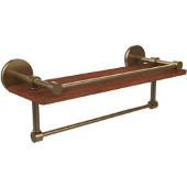 Prestige Skyline Collection 16 Inch IPE Ironwood Shelf with Gallery Rail and Towel Bar, Brushed Bronze