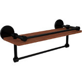 Prestige Skyline Collection 16 Inch IPE Ironwood Shelf with Gallery Rail and Towel Bar, Matte Black