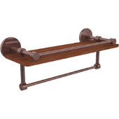 Prestige Skyline Collection 16 Inch IPE Ironwood Shelf with Gallery Rail and Towel Bar, Antique Copper