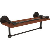 Prestige Skyline Collection 16 Inch IPE Ironwood Shelf with Gallery Rail and Towel Bar, Oil Rubbed Bronze