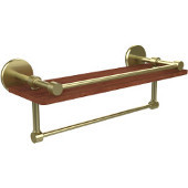 Prestige Skyline Collection 16 Inch IPE Ironwood Shelf with Gallery Rail and Towel Bar, Satin Brass