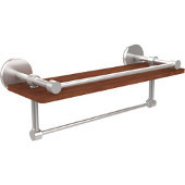 Prestige Skyline Collection 16 Inch IPE Ironwood Shelf with Gallery Rail and Towel Bar, Satin Chrome