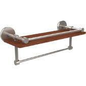Prestige Skyline Collection 16 Inch IPE Ironwood Shelf with Gallery Rail and Towel Bar, Satin Nickel