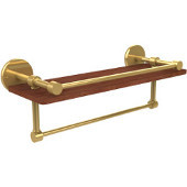 Prestige Skyline Collection 16 Inch IPE Ironwood Shelf with Gallery Rail and Towel Bar, Unlacquered Brass