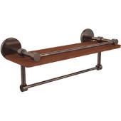 Prestige Skyline Collection 16 Inch IPE Ironwood Shelf with Gallery Rail and Towel Bar, Venetian Bronze