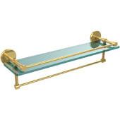 22 Inch Gallery Glass Shelf with Towel Bar, Polished Brass