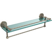 22 Inch Gallery Glass Shelf with Towel Bar, Antique Pewter