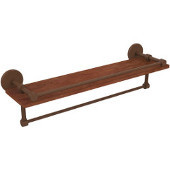 Prestige Skyline Collection 22 Inch IPE Ironwood Shelf with Gallery Rail and Towel Bar, Antique Bronze