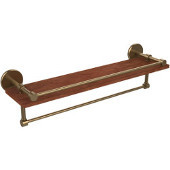 Prestige Skyline Collection 22 Inch IPE Ironwood Shelf with Gallery Rail and Towel Bar, Brushed Bronze