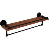 Prestige Skyline Collection 22 Inch IPE Ironwood Shelf with Gallery Rail and Towel Bar, Matte Black