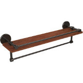 Prestige Skyline Collection 22 Inch IPE Ironwood Shelf with Gallery Rail and Towel Bar, Oil Rubbed Bronze