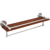 Prestige Skyline Collection 22 Inch IPE Ironwood Shelf with Gallery Rail and Towel Bar, Polished Chrome