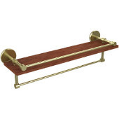 Prestige Skyline Collection 22 Inch IPE Ironwood Shelf with Gallery Rail and Towel Bar, Satin Brass