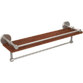 Prestige Skyline Collection 22 Inch IPE Ironwood Shelf with Gallery Rail and Towel Bar, Satin Nickel