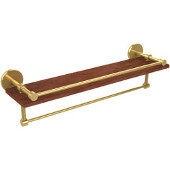 Prestige Skyline Collection 22 Inch IPE Ironwood Shelf with Gallery Rail and Towel Bar, Unlacquered Brass