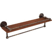 Prestige Skyline Collection 22 Inch IPE Ironwood Shelf with Gallery Rail and Towel Bar, Venetian Bronze