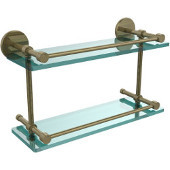 16 Inch Tempered Double Glass Shelf with Gallery Rail, Antique Brass