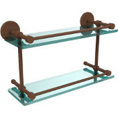16 Inch Tempered Double Glass Shelf with Gallery Rail, Antique Bronze