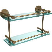 16 Inch Tempered Double Glass Shelf with Gallery Rail, Brushed Bronze