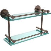 16 Inch Tempered Double Glass Shelf with Gallery Rail, Venetian Bronze