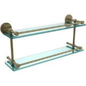 22 Inch Tempered Double Glass Shelf with Gallery Rail, Antique Brass