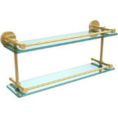 22 Inch Tempered Double Glass Shelf with Gallery Rail, Polished Brass