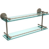 22 Inch Tempered Double Glass Shelf with Gallery Rail, Antique Pewter