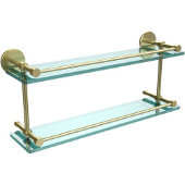 22 Inch Tempered Double Glass Shelf with Gallery Rail, Satin Brass