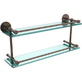 22 Inch Tempered Double Glass Shelf with Gallery Rail, Venetian Bronze
