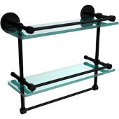 16 Inch Gallery Double Glass Shelf with Towel Bar, Matte Black
