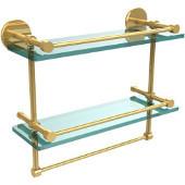 16 Inch Gallery Double Glass Shelf with Towel Bar, Polished Brass