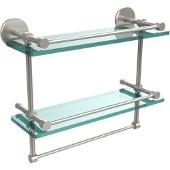 16 Inch Gallery Double Glass Shelf with Towel Bar, Satin Nickel