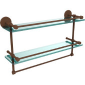 22 Inch Gallery Double Glass Shelf with Towel Bar, Antique Bronze