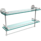22 Inch Gallery Double Glass Shelf with Towel Bar, Polished Chrome