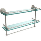 22 Inch Gallery Double Glass Shelf with Towel Bar, Satin Nickel