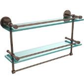22 Inch Gallery Double Glass Shelf with Towel Bar, Venetian Bronze