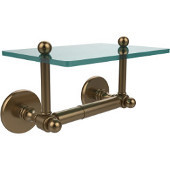 Prestige Skyline Collection Two Post Toilet Tissue Holder with Glass Shelf, Brushed Bronze