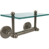 Prestige Skyline Collection Two Post Toilet Tissue Holder with Glass Shelf, Antique Pewter