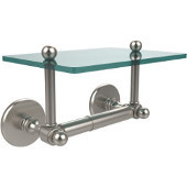 Prestige Skyline Collection Two Post Toilet Tissue Holder with Glass Shelf, Satin Nickel