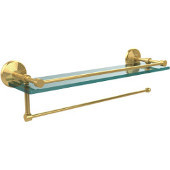 Prestige Monte Carlo Collection Paper Towel Holder with 16 Inch Gallery Glass Shelf, Polished Brass
