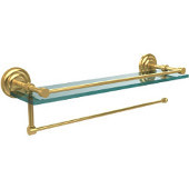 Prestige Que New Collection Paper Towel Holder with 16 Inch Gallery Glass Shelf, Polished Brass