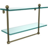 16 Inch Two Tiered Glass Shelf with Integrated Towel Bar, Antique Brass
