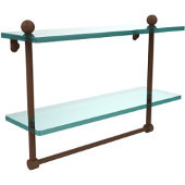 16 Inch Two Tiered Glass Shelf with Integrated Towel Bar, Antique Bronze