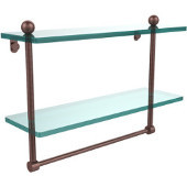 16 Inch Two Tiered Glass Shelf with Integrated Towel Bar, Antique Copper