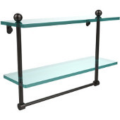 16 Inch Two Tiered Glass Shelf with Integrated Towel Bar, Oil Rubbed Bronze