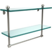 16 Inch Two Tiered Glass Shelf with Integrated Towel Bar, Polished Nickel