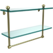 16 Inch Two Tiered Glass Shelf with Integrated Towel Bar, Satin Brass