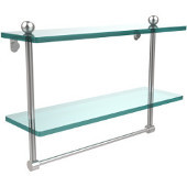 16 Inch Two Tiered Glass Shelf with Integrated Towel Bar, Satin Chrome