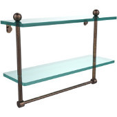 16 Inch Two Tiered Glass Shelf with Integrated Towel Bar, Venetian Bronze